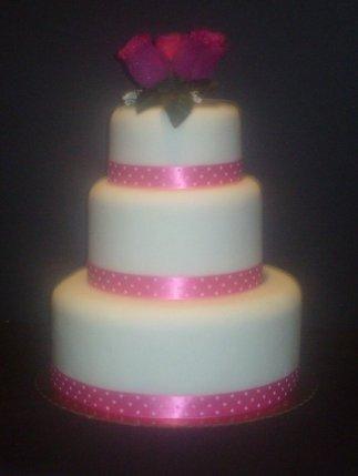 3 Tier Pink Wedding Cake