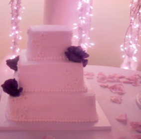Square Buttercream Wedding Cake with White Fondant Flowers