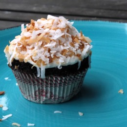 Dark Chocolate Coconut Cupcake