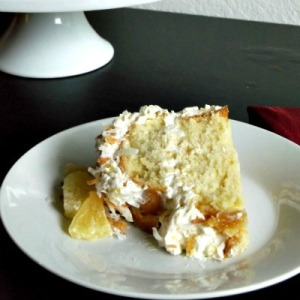 Slice of Coconut Pound Cake with Pineapple Swiss Meringue Buttercream