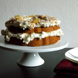 Coconut Poundcake with Pineapple Swiss Meringue Buttercream